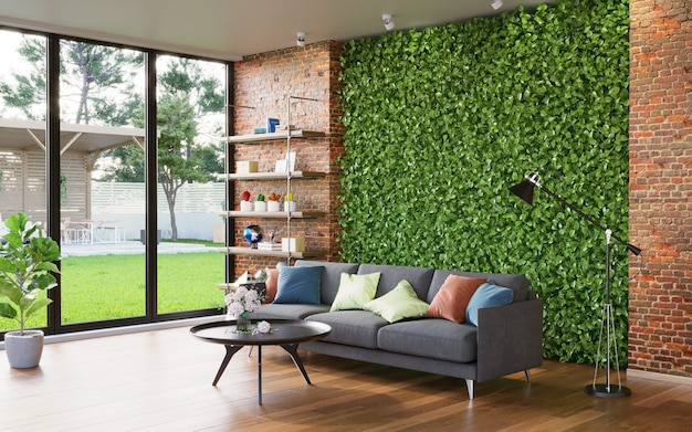 緑の壁と窓の外の裏庭のあるリビングルームのインテリア3dレンダリング