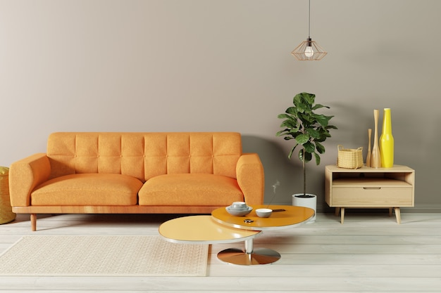 A living room interior with an orange