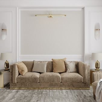ソファと枕のあるリビングルームのインテリア