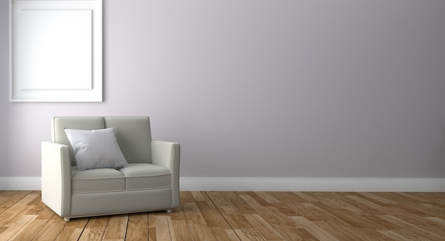 Living room interior with sofa and frame, wooden floor on empty white wall background.