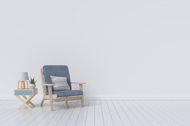 Living room interior with velvet armchair on white wall background. 3d rendering.