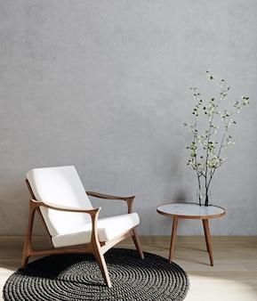 흰색 안락의자와 꽃이 있는 거실 내부, 회색 벽 조롱 배경, 3d 렌더링