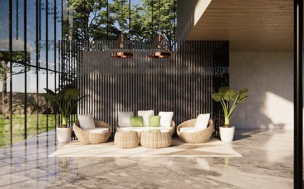 白い家具と緑の植物のあるリビングルームのインテリア