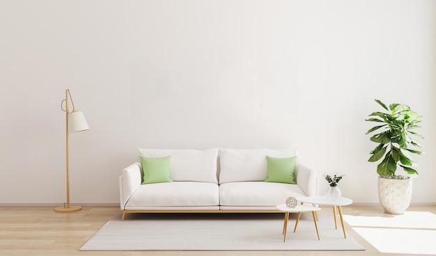 흰색 소파와 녹색 베개, 현대 커피 테이블, 플로어 램프, 식물 및 나무 바닥과 흰 벽에 깔개가있는 거실 인테리어. 거실 인테리어 모형. 스칸디나비아 스타일. 3d 렌더링 프리미엄 사진