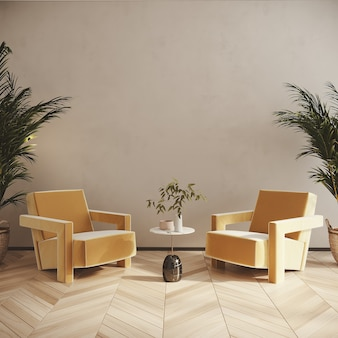 Living room interior with yellow armchair 3d render
