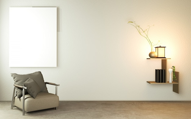 Living room japanese style with wooden table, lamps and armchair on floor concrete.