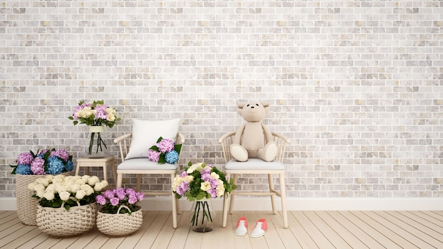 Living room or kid room decoration flower- 3d rendering