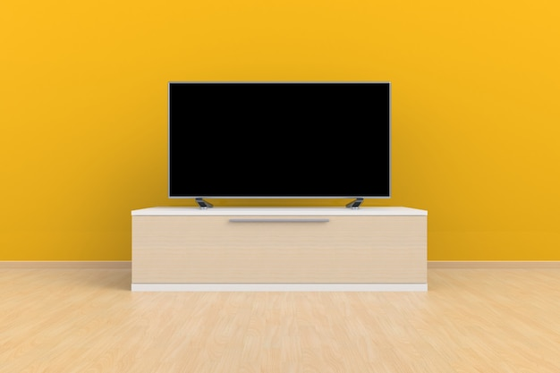 Living room led tv on yellow wall with wooden table modern loft style, 3d rendering