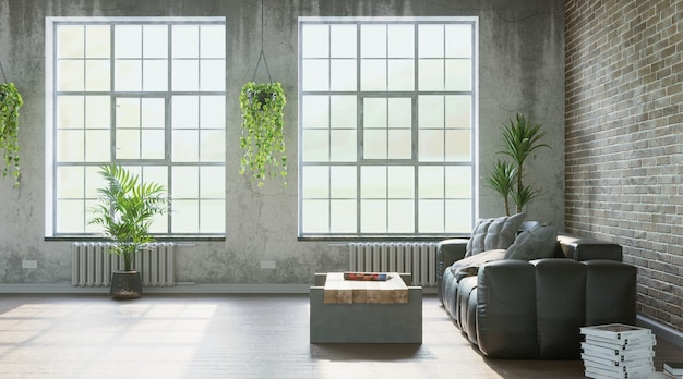 Living room in loft industrial style grungy walls 3d render