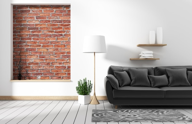 Living room loft interior with sofa and wall pattern brick in white wall. 3d rendering