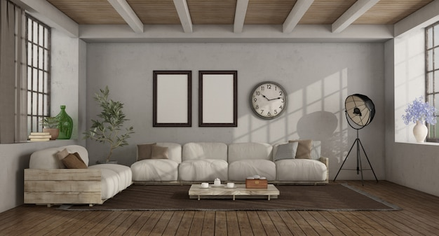 Living room in a loft with rustic sofa