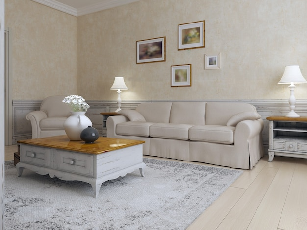 Living room mediterranean style in light cream and ecru colors on bright interior with lamps in interior.