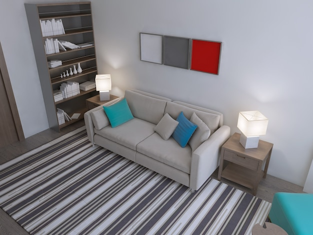 Living room modern style with pleasant stuff in the interior.