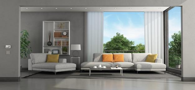 소파와 의자 라운지가있는 현대 빌라의 거실-3d 렌더링