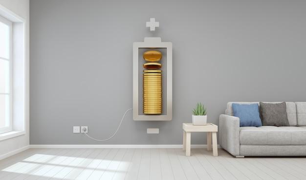 Живущая комната современного дома с золотыми монетками в инвестициях в собственность и концепции роста дела.