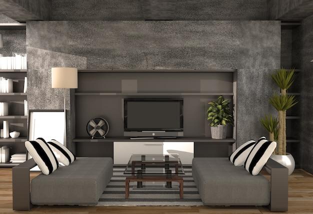콘크리트 벽과 가구 현대 로프트 스타일의 거실. 3d 렌더링