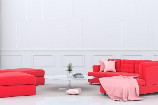 빨간 소파, 핑크 패브릭, 베개 발렌타인 데이에 거실. 발렌타인 데이에 사랑. 삼