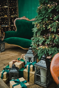 Living room in retro style with a christmas decor.