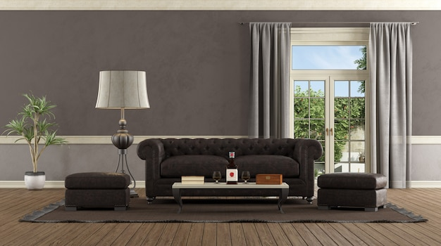 Living room in retro style with leather sofa