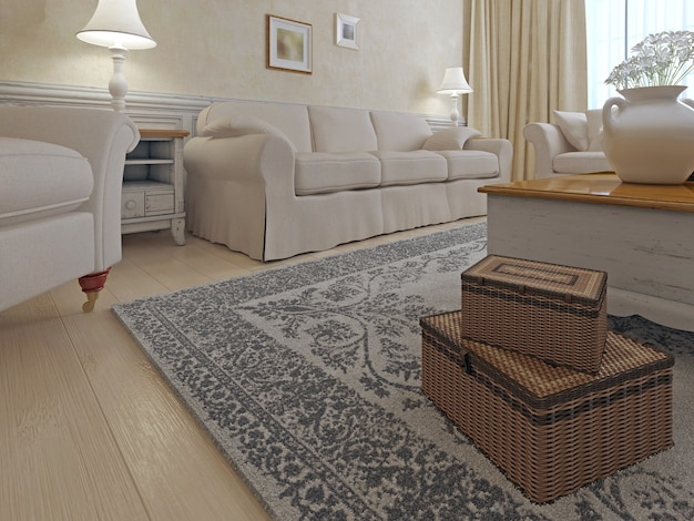 Living room shabby-chic style on bright living room with cream sofa armchair combination.