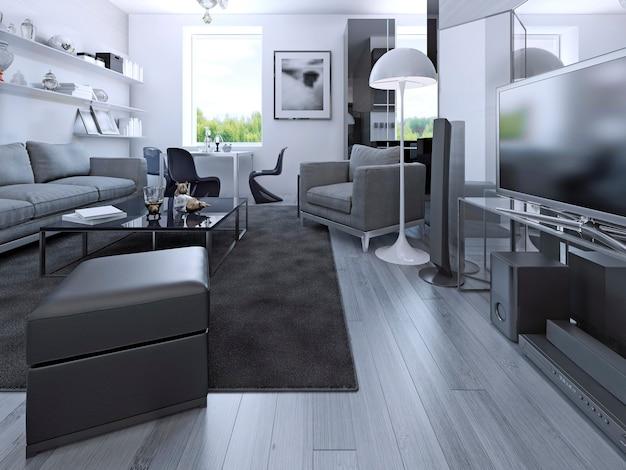 개인 주택의 거실 스튜디오. 라미네이트 바닥재, 미디어 시스템, 좌석 공간, 식당 및 고급 주방 블랙 색상이있는 회색 객실입니다. 3d 렌더링