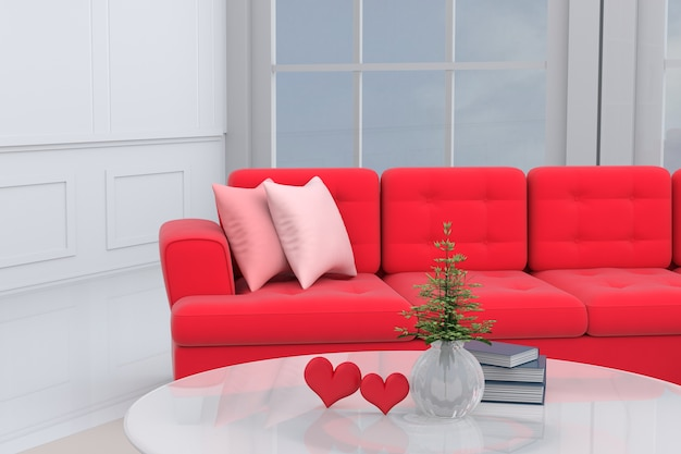 Living room on valentine day with red sofa, red hearts, pillow. love on valentine`s day. 3