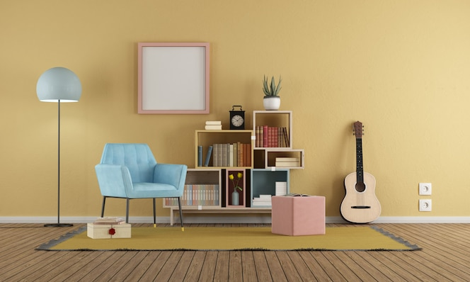 Living room in vintage style with yellow wall