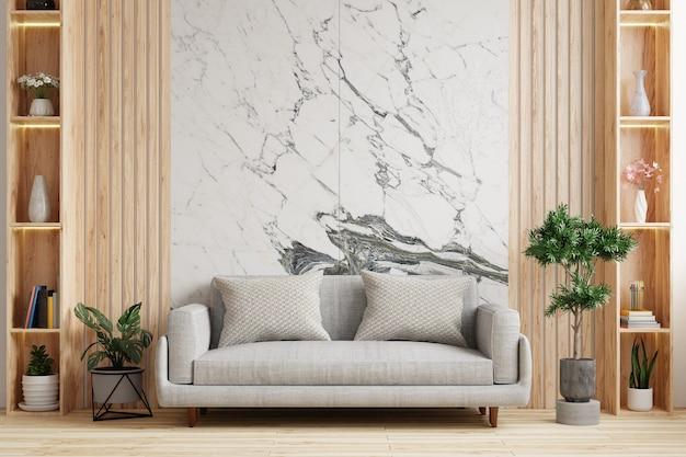 床にソファと大理石の壁のあるリビングルーム