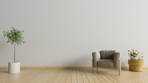 Living room with armchair and tree on white wall background, 3d rendering