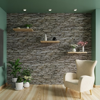 床にアームチェアとレンガの壁のあるリビングルーム