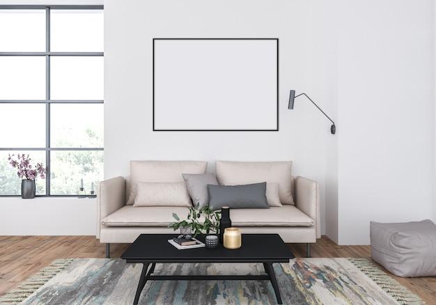 Living room with a beige sofa, horizontal frame mockup, artwork background