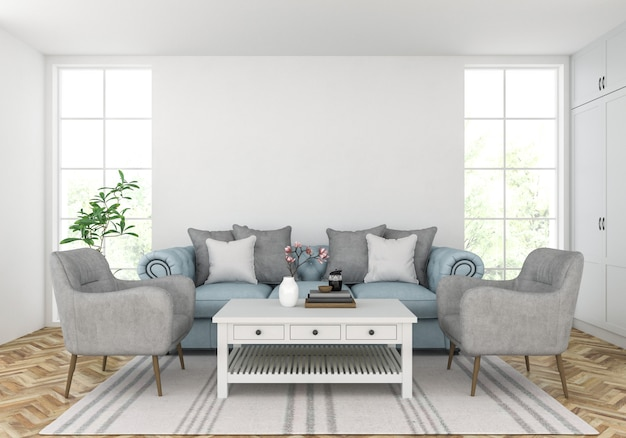 Living room with blank wall, artwork display
