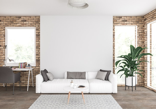Living room with blank wall