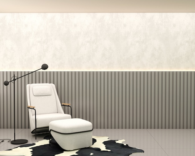 Living room with burnt cement slatted wall white armchair leather carpet and lamp and floor