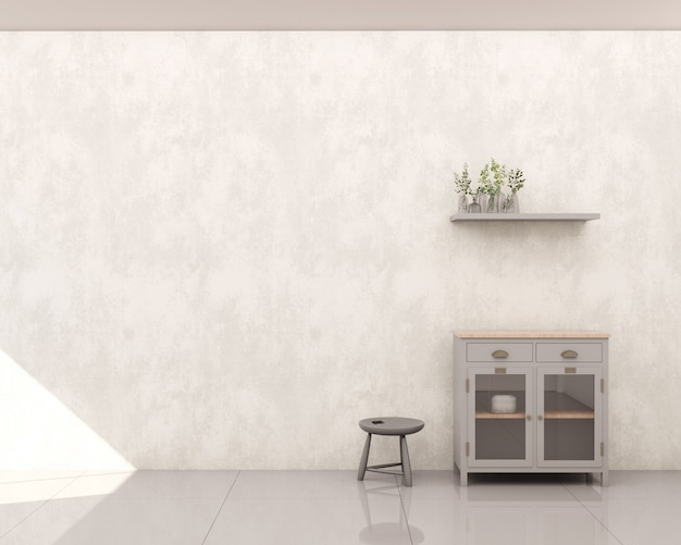 Living room with burnt cement wall gray cabinet to store utensils with glass door shelf side stool decorations and plants