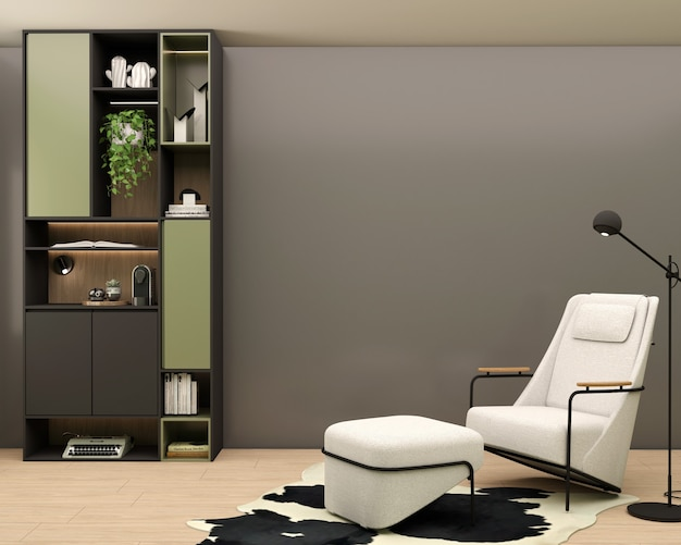 Living room with burnt gray wall bookcase typewriter coffee maker white armchair leather carpet decorations and plants