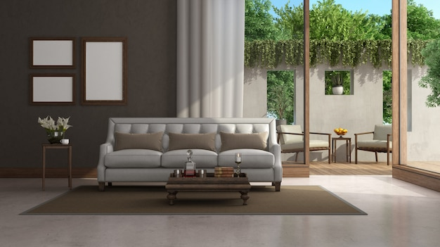 Living room with classic furniture and large window