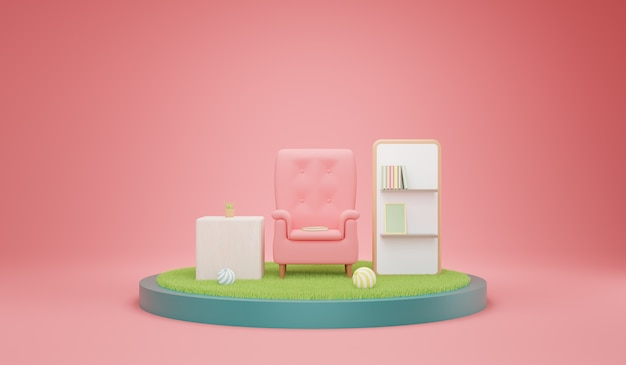 Living room with comfy armchairs and shelves books. 3d illustration