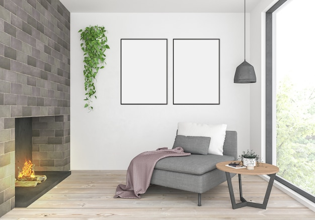 Living room with empty double frames
