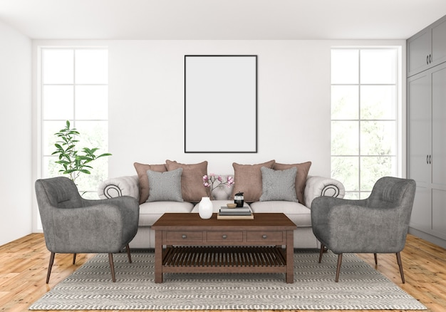 Living room with empty vertical frame mockup