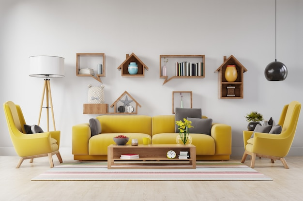 Living room with fabric yellow sofa, yellow armchair, lamp and green plant in vase
