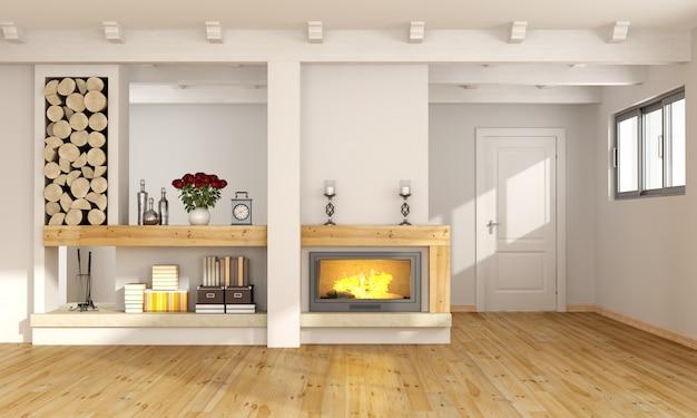 暖炉付きのリビングルーム