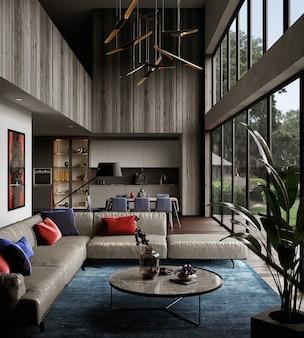 モダンな農家のデザインの家具付きのリビングルーム、3dレンダリング