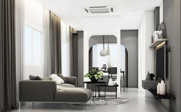 회색 가구와 기하학적 형태가있는 거실은 내장 된 3d 렌더링을 장식합니다.