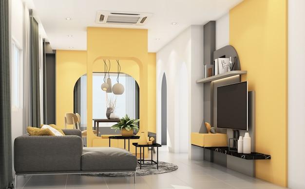 회색 가구와 기하학적 형태가있는 거실은 내장 노란색 3d 렌더링을 장식합니다.