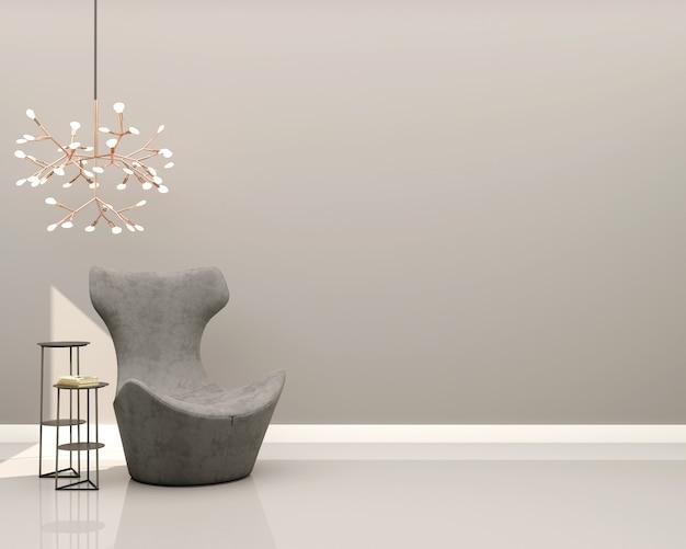 회색 벽 회색 벨벳 안락 의자 장식 사이드 테이블과 샹들리에가있는 거실