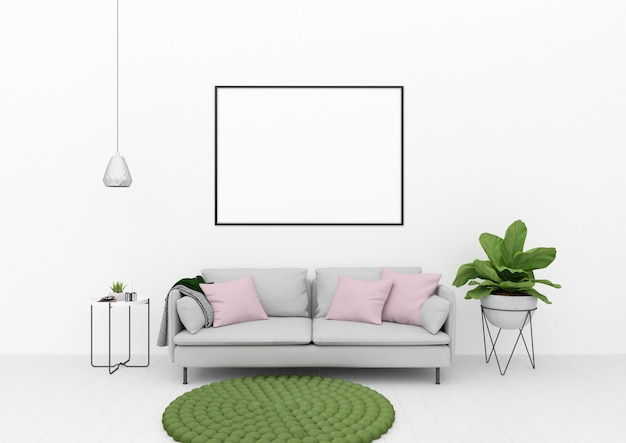 Living room with green decoration
