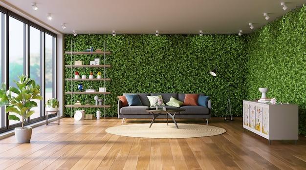 緑の壁のあるリビングルームインテリア垂直庭園のエコスタイル3dレンダリング