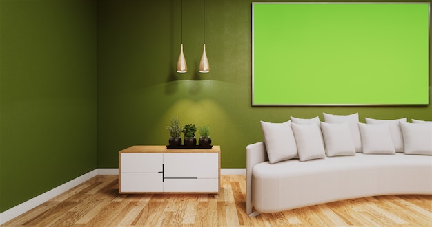 Living room with greenboard on wall