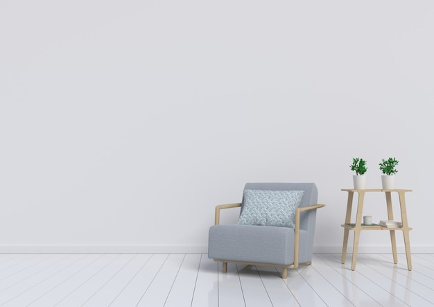 Living room with grey armchair and plant on white wall background. 3d rendering.